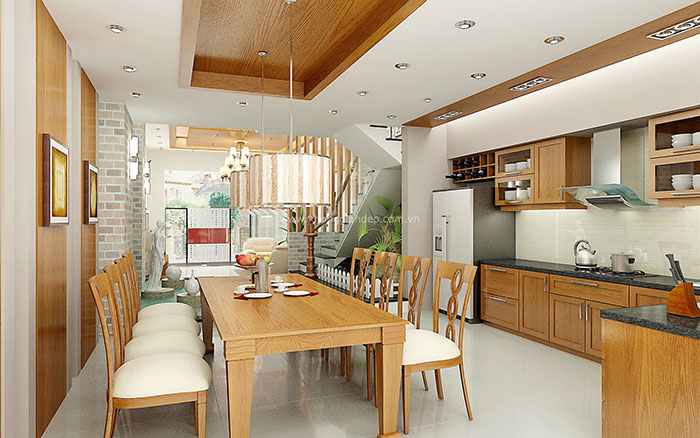 Trần thạch cao cho không gian bếp đẹp, hiện đại